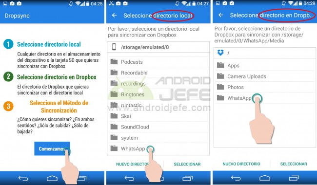 Cómo sincronizar o pasar los archivos de WhatsApp a Dropbox, automáticamente con la aplicación Dropsync para Android.