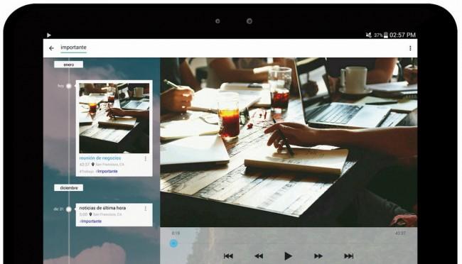 skyro grabar sonido adjuntar fotos reproduccion