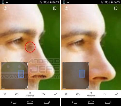 Quitar manchas de la cara en Snapseed 2 para Android