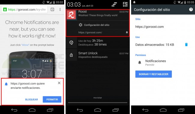 Notificaciones de sitios web en Chrome para Android (v42).