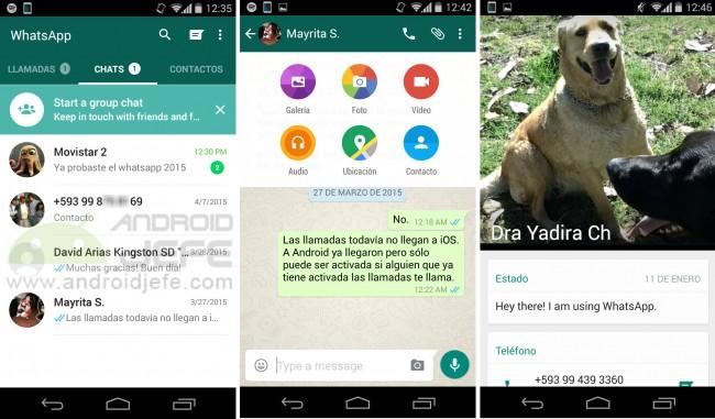 WhatsApp con diseño material (v2.12.36) en un Motorola Moto G Segunda generación.