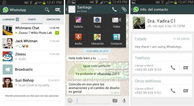 WhatsApp sin Material design (v 2.12.5) en un Samsung Galaxy S3 mini.