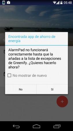 lista de excepciones greenify alarma