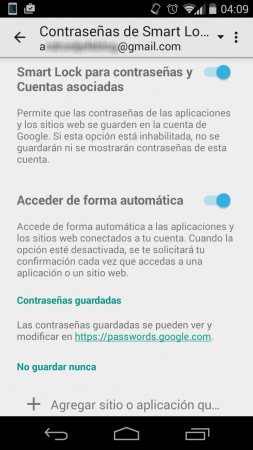google smart lock contrasenas configuracion