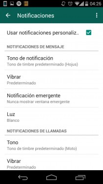desactivar notificaciones contacto whatsapp personalizar