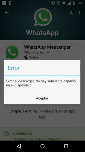 error descargar whatsapp espacio