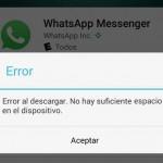 """Cómo descargar WhatsApp tras error """"SIN memoria"""" o espacio"""
