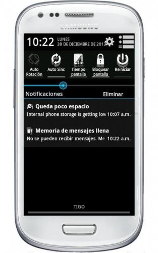 memoria de mensajes llena android