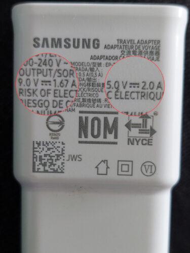 cargador samsung original amperios voltaje