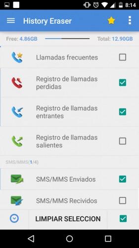 borrar registro llamadas sms