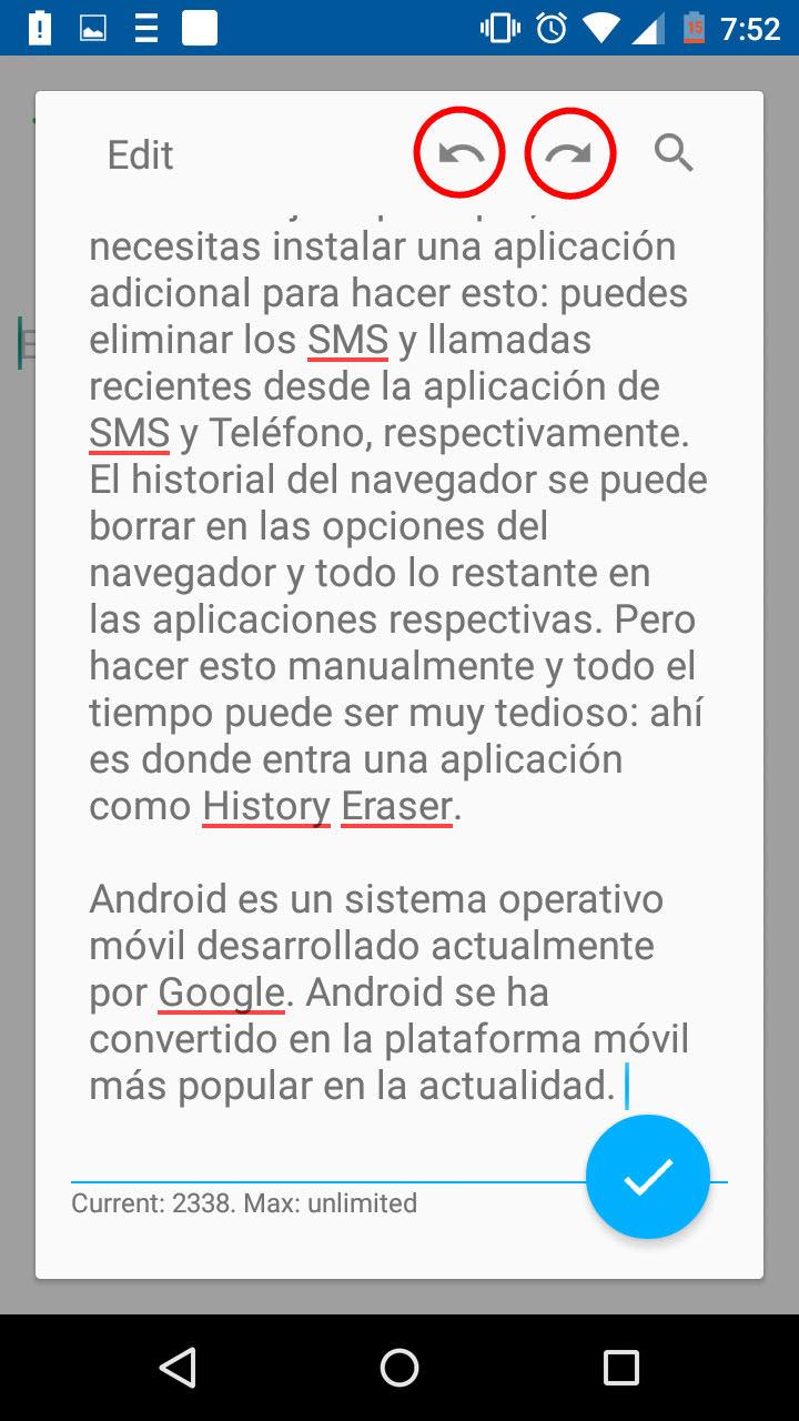 Atajos de Windows en Android 5: Ctrl Z, Ctrl Y, Buscar y Reemplazar