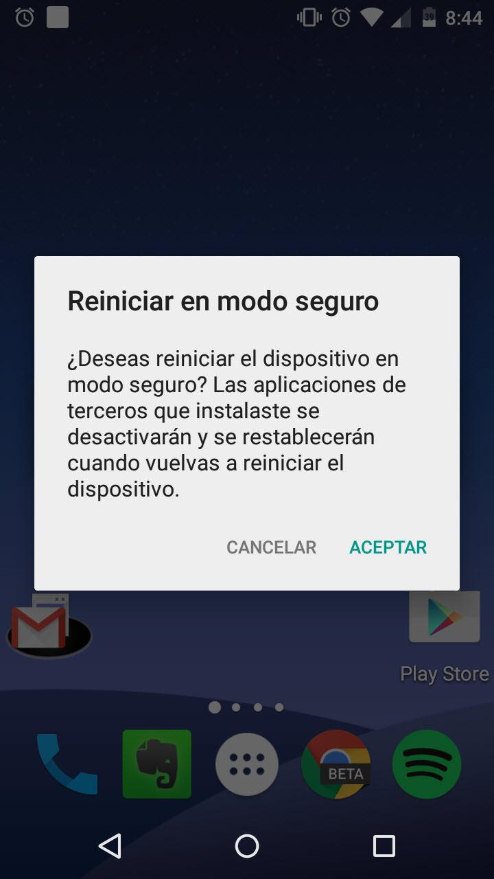 Elimina los virus de Android reiniciando el teléfono en modo seguro