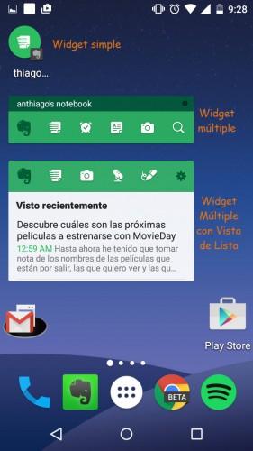 evernote widgets nuevos android