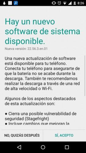 """Actualización de sistema para Motorola Moto G segunda generación, que arregla la falla de seguridad """"Stagefright"""""""