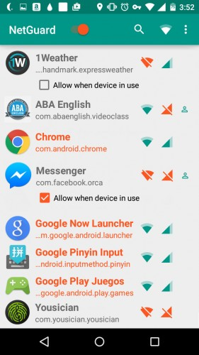 bloquear internet aplicacion android