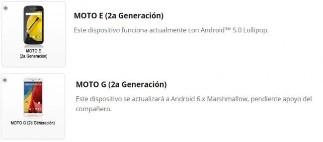 Actualización a Android Marshmallow 6: Moto E Segunda Generación vs. Moto G Segunda Generación (Fuente: Motorola Android Software Upgrade)