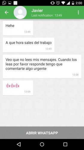 Leyendo mensajes de Javier en StealthApp