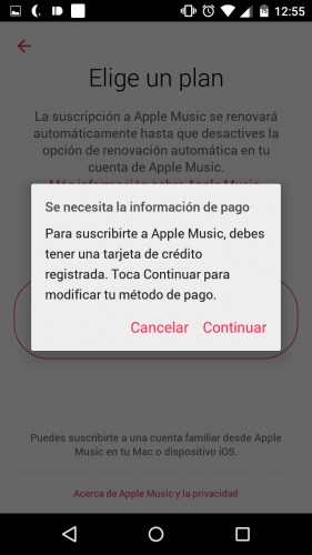 apple music no sirve sin tarjeta credito android