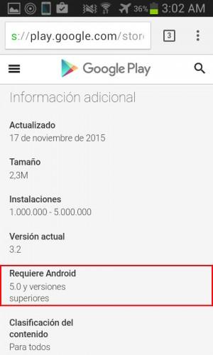 Información de aplicación desde la web Google Play