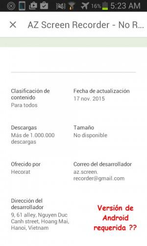 Información de aplicación en la Play Store para Android