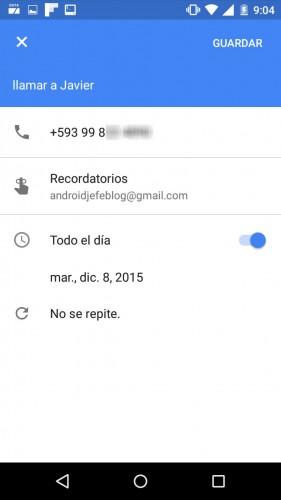 añadir recordatorio en google calendar android app