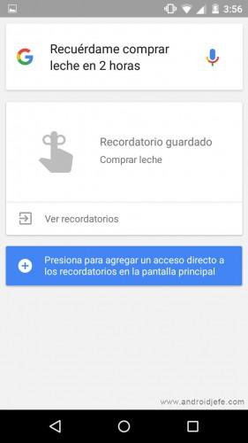 acceso directo a los recordatorios de Google Now Android