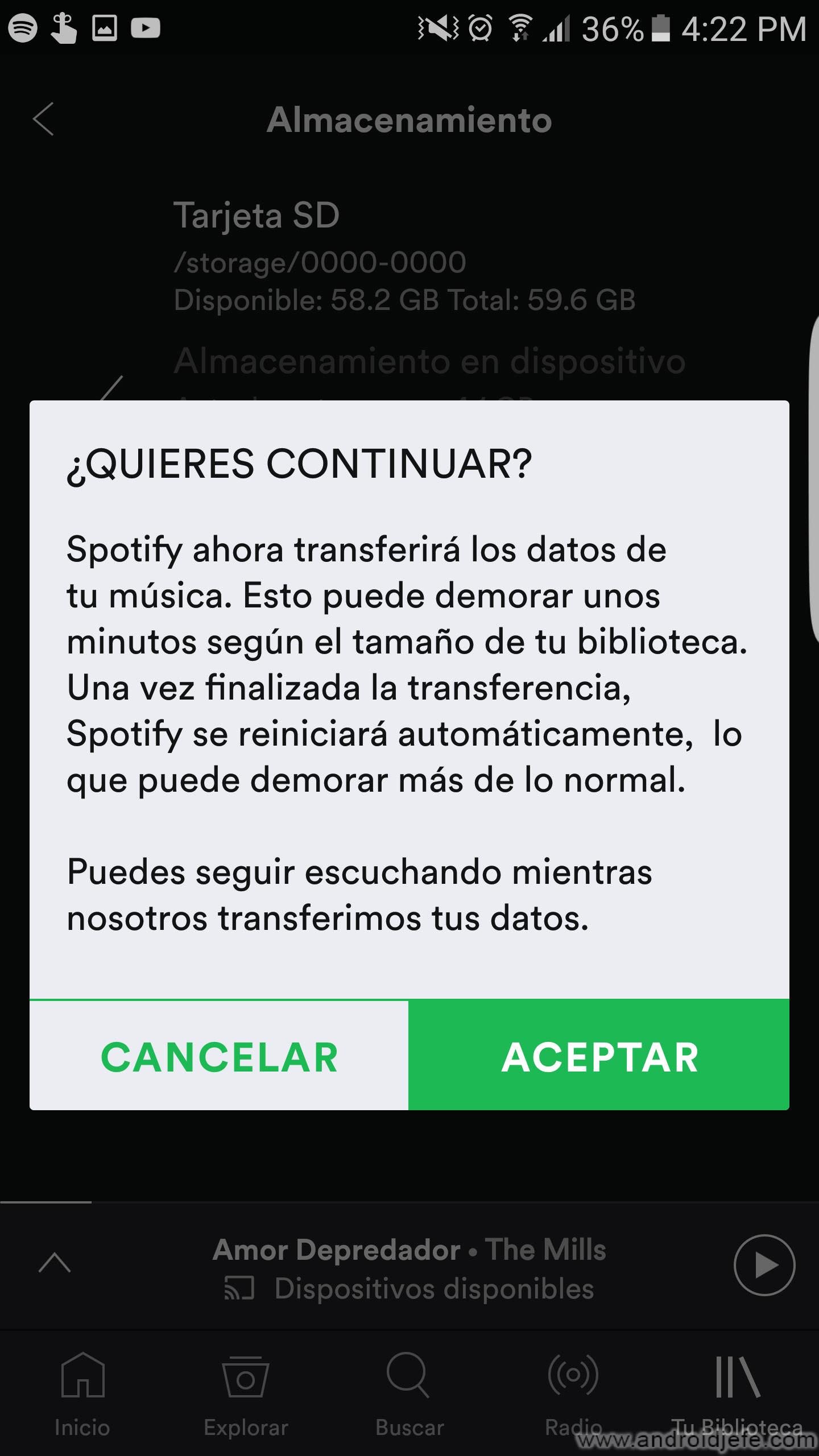 como cancelar spotify premium en android
