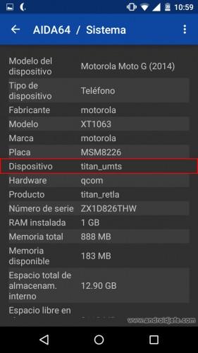 nombre de un dispositivo android codename aida64