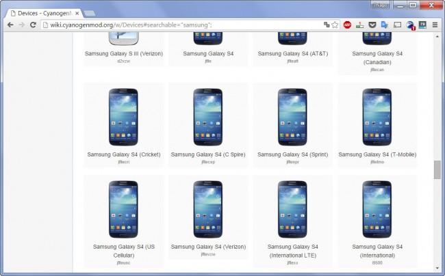 Variantes de Samsung Galaxy S4 (Página de ROMs de CyanogenMod)