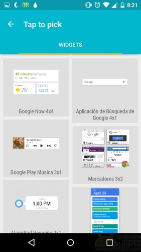 poner widgets barra estado android app