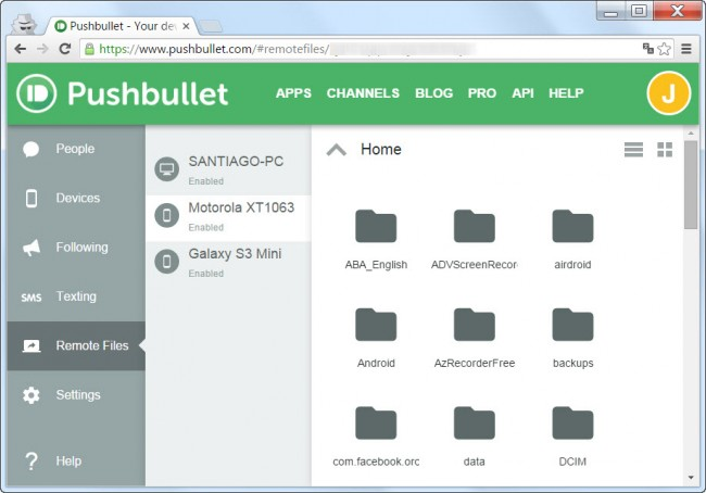Remote Files Pushbullet desde el PC