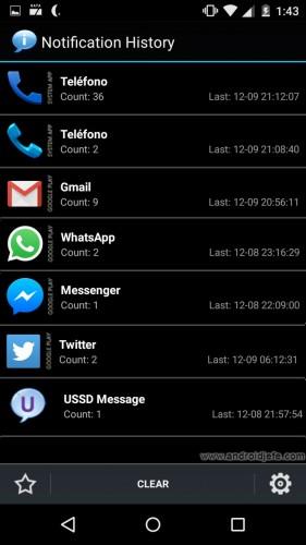 ver historial de notificaciones en android app