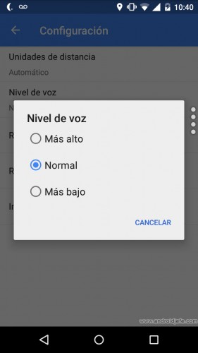 Ajustar volumen voz navegación Google Maps