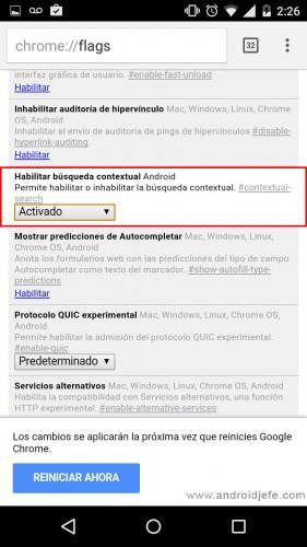activar busqueda contextual chrome android