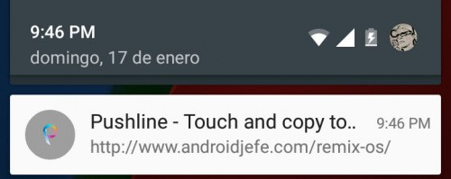 copiar texto android pc pushline app
