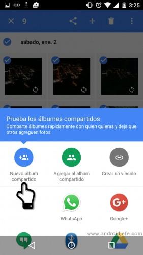 crear un álbum compartido en google fotos para android pasos