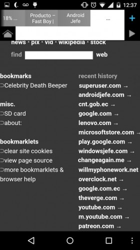 Página de Nueva Pestaña en Naked Browser