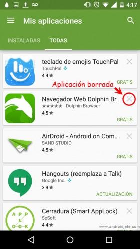 recuperar aplicaciones borradas android