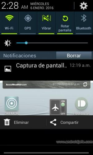 sobre las capturas de pantalla en android share