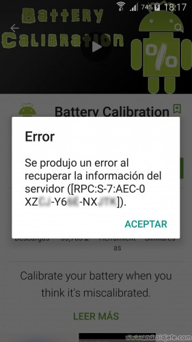 Error al recuperar la información del servidor ([RPC:S-7:AEC-0 XZXX-Y6XX-NXXXX]) en la aplicación Play Store