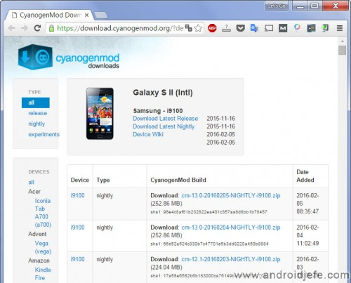 Samsung Galaxy S2 CyanogenMod 13