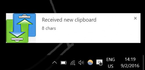 Text received on a Windows PC from an Android device