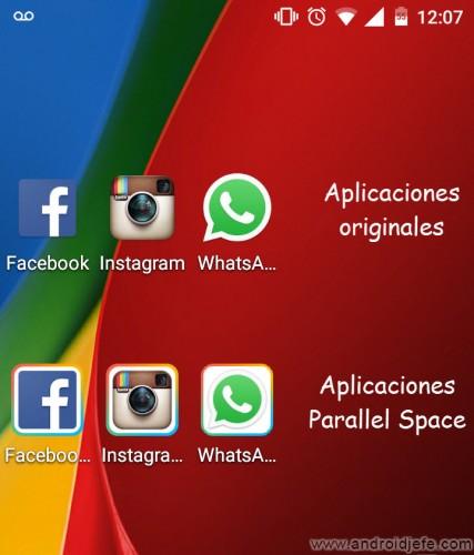 clonar duplicar aplicaciones android parallel space