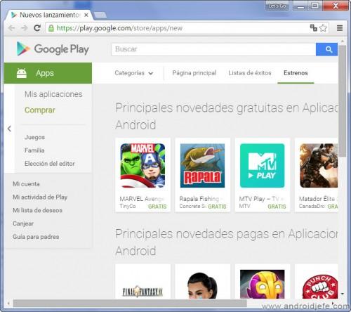 encontrar nuevas aplicaciones google play