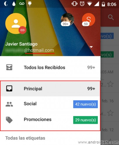 gmailificar cuenta hotmail yahoo android