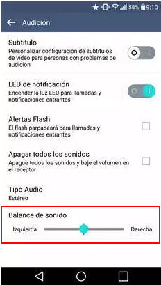 ajustar balance audio android