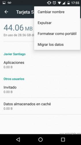android 6 aumentar memoria interna ajustes sd