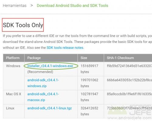 android sdk windows descargar