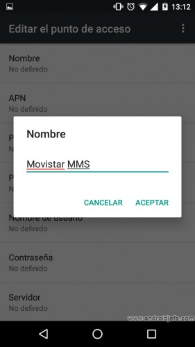 configurar mms android manual