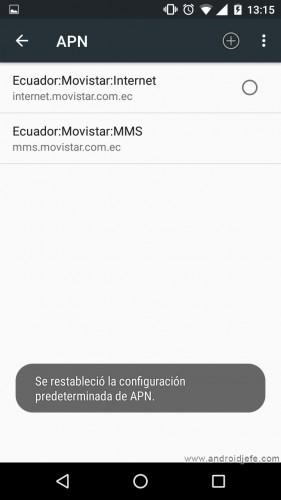 configurar mms android restablecer apn